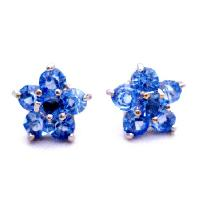 Birthday Gift Return Earrings Blue Flower Stud Earrings from fashionjewelryforeveryone.com