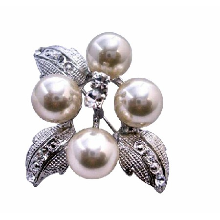 Flower Pearls with Silver Casting Leaves Decorated Cubic Zircon Brooch