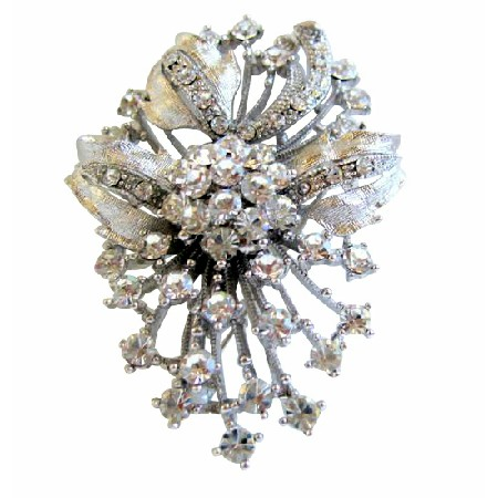 Fully Embedded Sparkling Brooch w/ Simulated Diamond Flower Pin