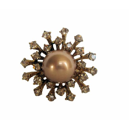 Copper Pearls with Sparkling Copper Crystals Pin Brooch