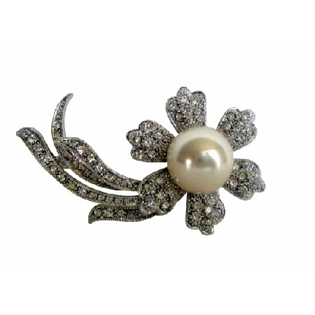 Single Pearl Stud Sunflower Silver Tone Cubic Zircon Long Stem Brooch