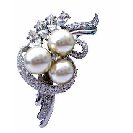 Swirling Cultured Pearls Cubic Zircon Brooch Pin