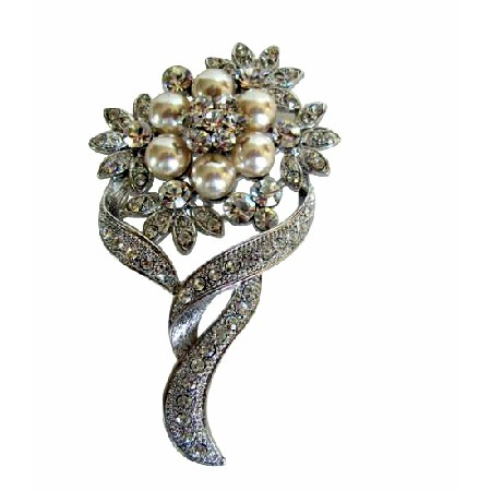 Pearls Flower Bouquet with Cubic Zircon Bud Decorated Brooch Pin