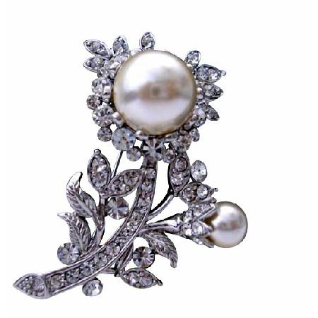 Wedding Jewelry Pearls Fully Embedded Cubic Zircon Bridal Dress Brooch