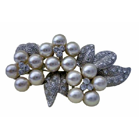Bridal Brooch Pin Pearls & Cubic Zircon Flower Pin Brooch Pearls
