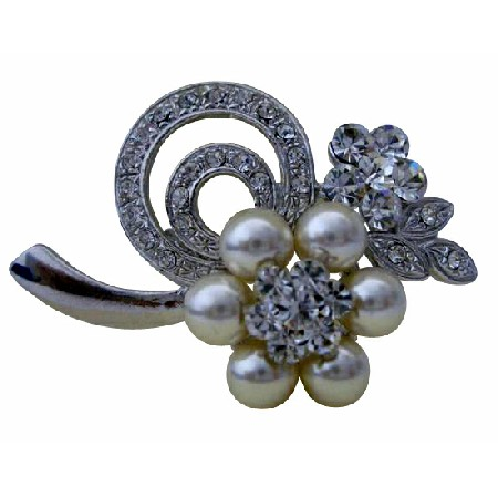 Flower Brooch Pin in Pearls & Cubic Zircon for Bridesmaid