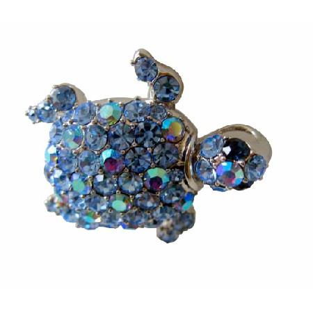 Aquamarine Crystals Unique Style Turtle Brooch Pin