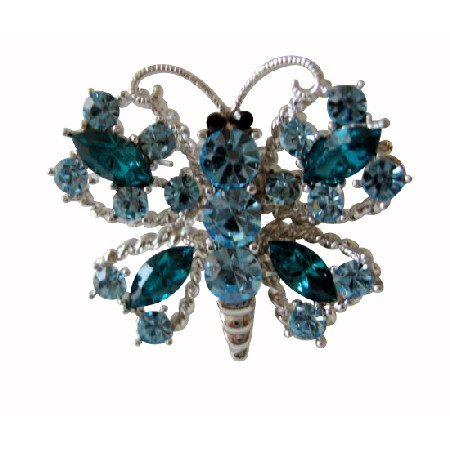 Hard to Find Aquamarine Crystals Butterfly Brooch Pin