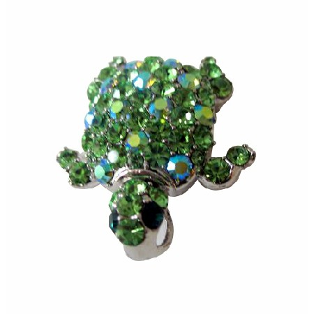 Austrian Green Crystals Hard to Find Turtle Brooch Pin