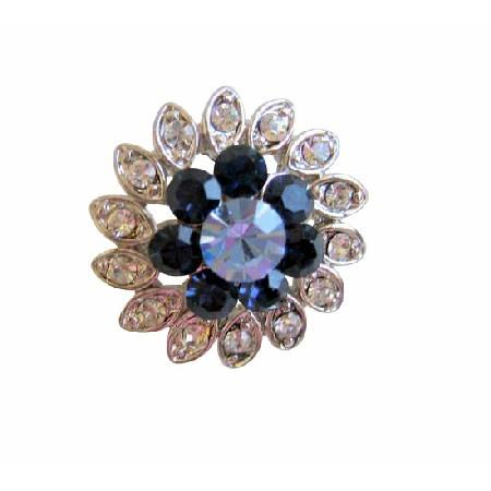Montana & Lite Sapphire Crystal Simulated Diamond Silver Plated Brooch