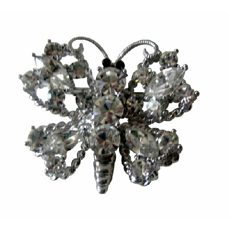 Silver Casting Sparkling Clear Crystals Butterfly Brooch Pin