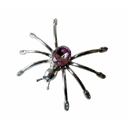 Unique Light Amethyst Austrian Crystals Spider Brooch Pin