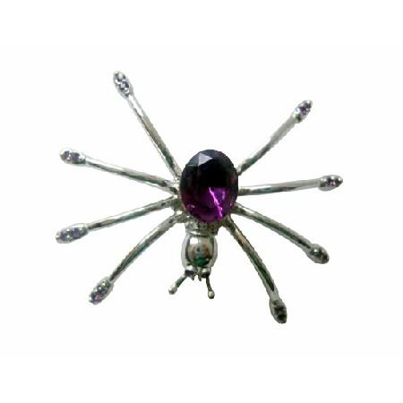 Stunning Austrian Amethyst Crystals Spider Brooch Pin