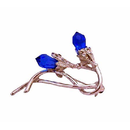Sapphire Glass Bud Rhodium Plated Stem Embedded CZ Brooch Pin