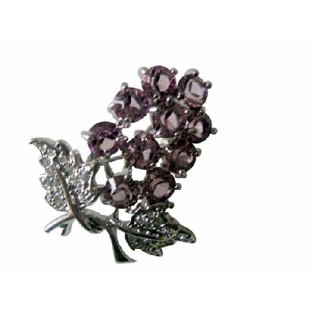 Elegant Gift Austrian Amethyst Crystals Tree Brooch Pin