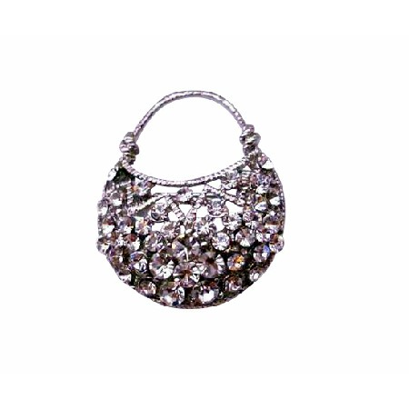 Cubic Zircon Purse in Silver Casting Pin Brooch