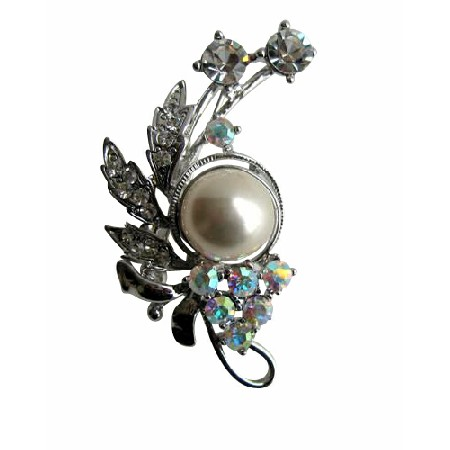 AB Crystals with Pearls & Cubic Zircon Decorated Brooch Pin