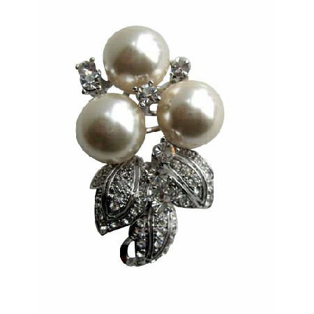 Bridal or Bridesmaid Pearls w/ Cubic Zircon Brooch Pin