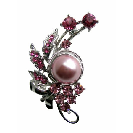 Rose Pink Crystals & Pink Pearls Pink Cubic Zircon Brooch Pin