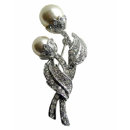 Sparkling Cubic Zircon Stem Pearls Brooch Silver Tone Jewelry