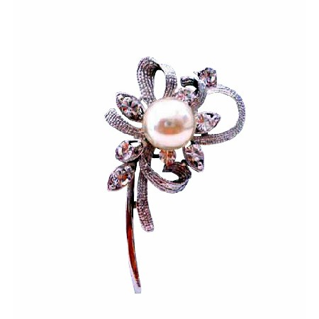 Pearls Brooch Pin Stem Cubic Zircon Brooch Perfect for Gifting