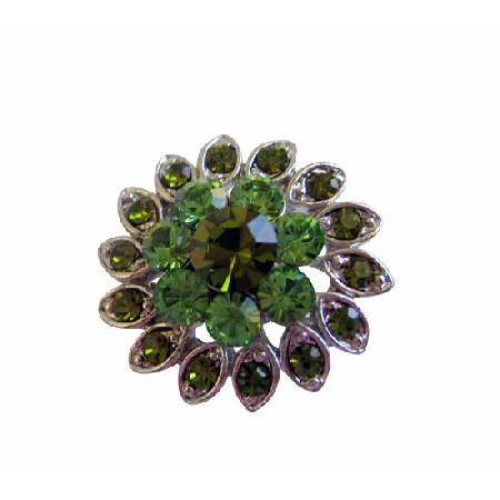 Silver Casting Flower Peridot & Olivine Rhinestones Brooch Pin