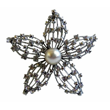 Flower Fully Embedded with Simulated Diamond 3 X 3 Inches Brooch
