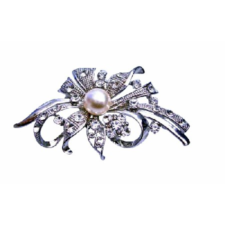 Cubic Zircon Pearls Sleek Bouquet Brooch for Wedding Cakes
