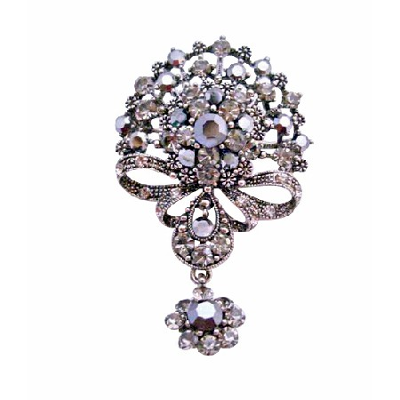 Victorian Style Black Oxidized Black Diamond Crystals Dangling Brooch
