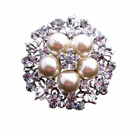 Ivory Pearls with Cubic Zircon Nest Style Sparkling Bridal Brooch