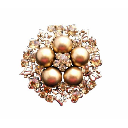 Sexy Gold Pearls Golden Shadow Nest Style Wedding Brooch