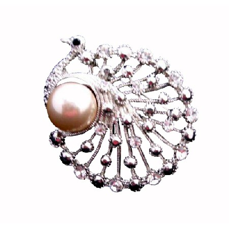 Round Shaped Peacock Stylish Cubic Zircon with Pearls Brooch