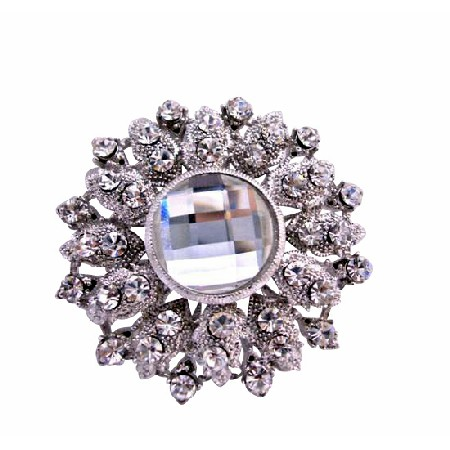 Silver Casting Embedded Cubic Zircon Crystals Bridal Brooch Pin