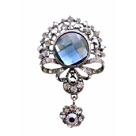 Black Diamond Crystals Victorian Style Dangling Brooch Pin Gift