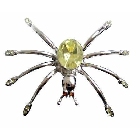 Stunning Silver Plated Lemon Crystals Spider Brooch Pin Gift