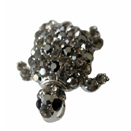 Black Diamond Crystals Turtle Brooch Pin Great for Gifting