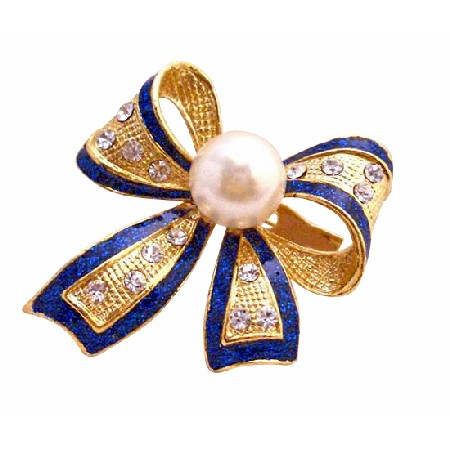 Blue Glitter Golden Plated Bow Brooch Pin in White Pearl & Rhinestones