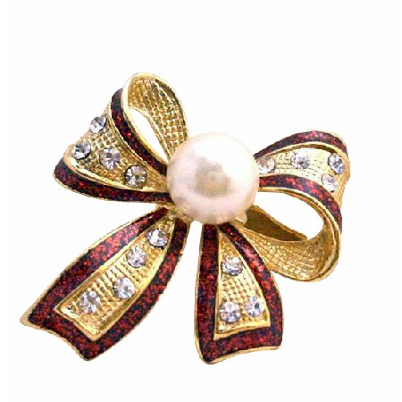 Red Outline Shiny Gold Plated White Cultured Pearl & CZ Bow Brooch Pin
