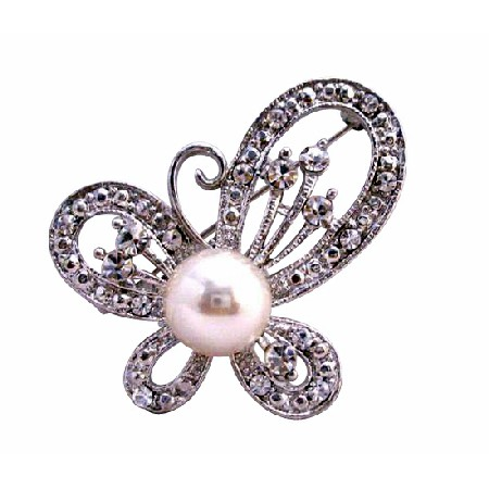 Butterfly Fully Decorated with Cubic Zircon & Pearls Dress Brooch Pin