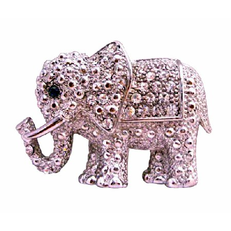 Elephant Brooch Fully Embedded with Cubic Zircon Silver Casting