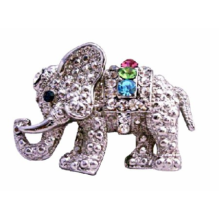 Cute Elephant with Multi Colored Cubic Zircon Brooch Jewelry
