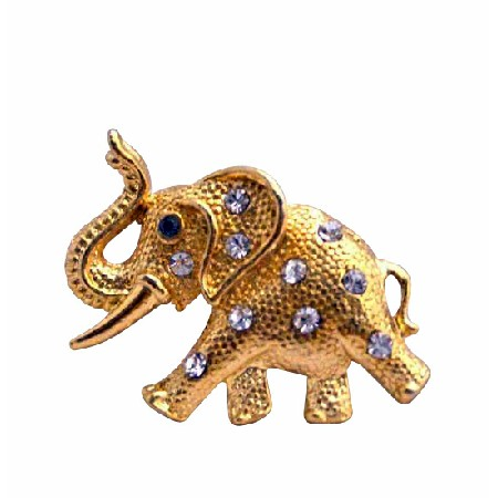 Pretty Gift Gold Elephant Vintage Jewelry Trunk Brooch