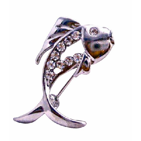 Great Gift Idea Fish Brooch Fully Decorated Cubic Zircon & Eye CZ