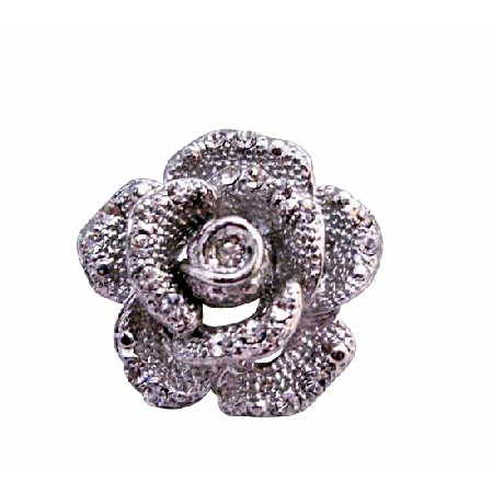 Silver Vintage Rose Brooch Embedded Decorated with Cubic Zircon