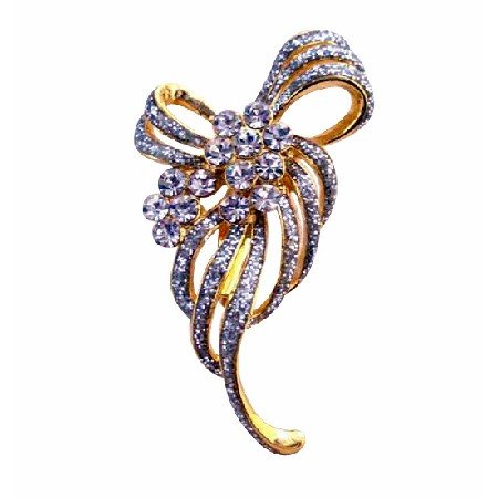 Affordable Dainty Gold Brooch Fully Encrusted with Cubic Zircon