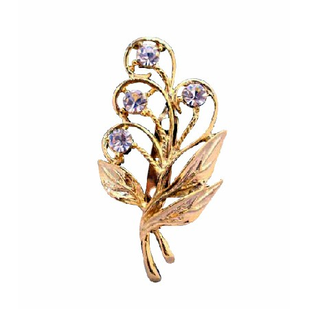 Beautiful Gold Bouquet Brooch with Golden Leaf & Cubic Zircon
