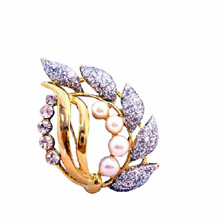 Stylish Fancy Gold Brooch with Glitered Leaf Pearls Cubic Zircon