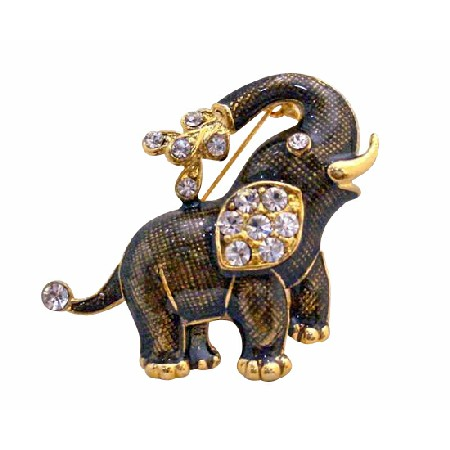 Elephant Brooch Gold Plated with Cubic Zircon Jewelry Pin