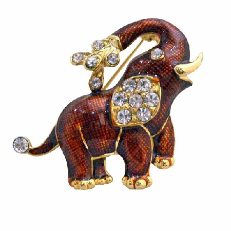 Gold Plated Red Elephant Brooch Decorated Cubic Zircon Jewelry