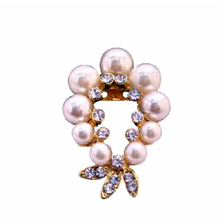 Elegant Garland Cubic Zircon Gold Brooch Ivory Pearls Jewelry